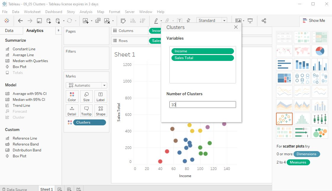 Tableau Data clusters in Scatter plots Step 6